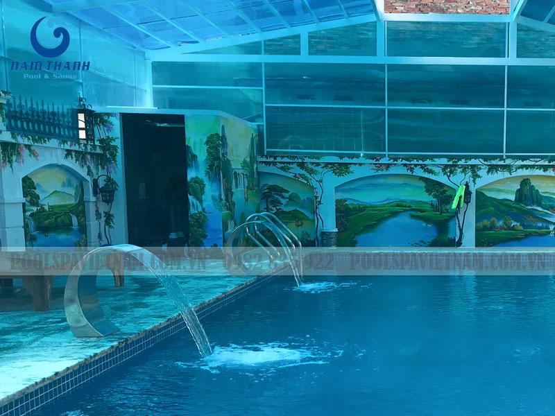 thiết kế thi công bể bơi gia đình anh Liên - Hòa Bình