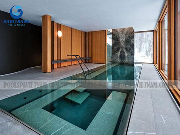 làm bể bơi trong nhà những dáng bể phổ biến