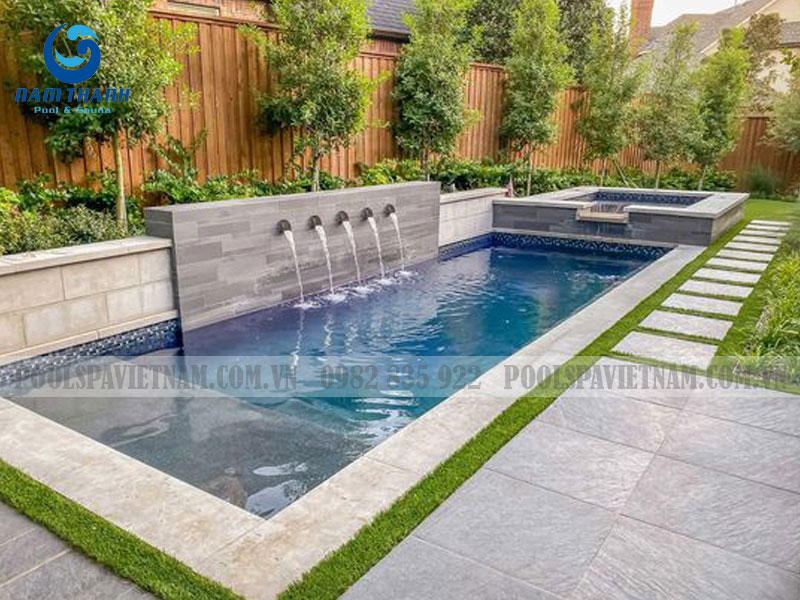 thiết kế bể bơi gia đình ngoài sân vườn